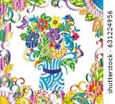 flowers in a vase on white... | Shutterstock .eps vector #631224956