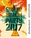 summer beach party typographic... | Shutterstock .eps vector #631225196