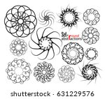 a set of round monochrome... | Shutterstock .eps vector #631229576