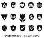 black shield protect icons set | Shutterstock .eps vector #631246592