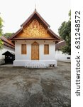 Small photo of Small Kuti-monks dwelling building-doors closed of Wat Sene Souk Haram-100.000 treasures temple 1718 AD.built by Tia Tiao under King Kitsarath with 100.000 stones from the Mekong. Luang Prabang-Laos.