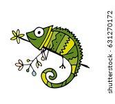 chameleon cartoon  sketch for...   Shutterstock .eps vector #631270172