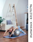 young sportswoman doing...   Shutterstock . vector #631270796