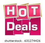 hot deals pink squares stripes  | Shutterstock . vector #631274426