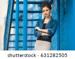 stylish pretty woman in striped ... | Shutterstock . vector #631282505