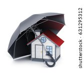 abstract house and umbrella.... | Shutterstock . vector #631295312