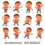 cartoon character boy set with... | Shutterstock .eps vector #631303622
