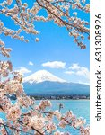 Small photo of Mountain Fuji and Cherry Blossom in Japan Spring Season, Sakura season time