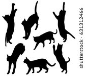 Stock vector set vector silhouette of the cat different poses black color isolated on white background 631312466