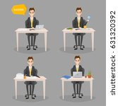 set of business man working at... | Shutterstock .eps vector #631320392