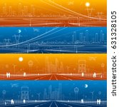 infrastructure panorama set.... | Shutterstock .eps vector #631328105