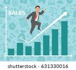 business man jump over growth... | Shutterstock . vector #631330016