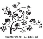 silhouettes of birds on a tree | Shutterstock .eps vector #63133813