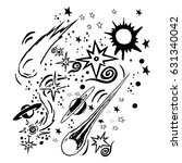 space theme doodle. | Shutterstock .eps vector #631340042