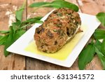 meat loaf with fresh green...
