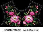 ethnic embroidery rose peony... | Shutterstock . vector #631352612