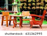 wooden chair and table | Shutterstock . vector #631362995