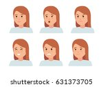 set of female facial emotions.... | Shutterstock .eps vector #631373705