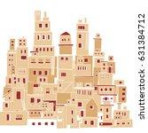 mediterranean town  sunny... | Shutterstock .eps vector #631384712