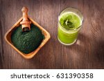 green smoothie with spirulina... | Shutterstock . vector #631390358