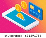 coin drop in smartphone and in... | Shutterstock .eps vector #631391756