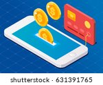 coin drop in smartphone and in... | Shutterstock .eps vector #631391765