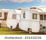 row of three vintage restored... | Shutterstock . vector #631410236