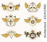 vintage heraldry design... | Shutterstock .eps vector #631411982