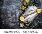 fresh uncooked dorado or sea...   Shutterstock . vector #631422566