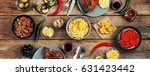 dining table. a variety of food ... | Shutterstock . vector #631423442
