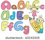 vector children sketch letters... | Shutterstock .eps vector #63142435