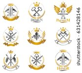 vintage weapon emblems set.... | Shutterstock .eps vector #631428146