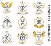vintage weapon emblems set.... | Shutterstock .eps vector #631428236