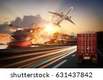 truck transport container on... | Shutterstock . vector #631437842