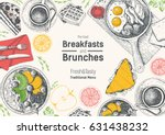 breakfasts and brunches top... | Shutterstock .eps vector #631438232