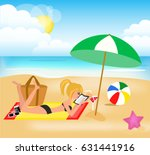 girl on the beach reading a book | Shutterstock .eps vector #631441916