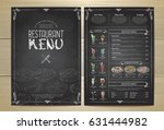 chalk drawing restaurant menu... | Shutterstock .eps vector #631444982