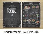 chalk drawing restaurant menu... | Shutterstock .eps vector #631445006