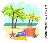 summer beach vector design in... | Shutterstock .eps vector #631447175
