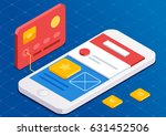 mobile app development  flat 3d ... | Shutterstock .eps vector #631452506