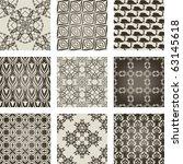 set of 9 seamless patter. vector | Shutterstock .eps vector #63145618