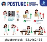 correct and incorrect posture.... | Shutterstock .eps vector #631462436