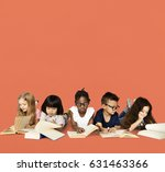 diverse group of kids study... | Shutterstock . vector #631463366