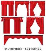 set of red luxury curtains and... | Shutterstock .eps vector #631465412
