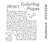 cartoon dog maze game. vector... | Shutterstock .eps vector #631473236