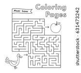 cartoon duck maze game. vector... | Shutterstock .eps vector #631473242