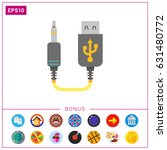 mini usb to jack cable | Shutterstock .eps vector #631480772