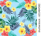 seamless tropical pattern with... | Shutterstock .eps vector #631484582