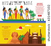 egypt horizontal banners with... | Shutterstock .eps vector #631487102