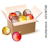 box full of christmas balls... | Shutterstock .eps vector #63148768